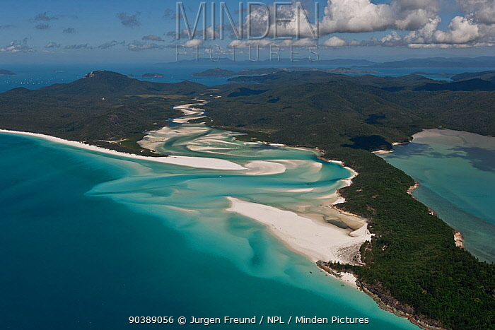 Aerial view of Whitehaven Beach, a seven kilometre stretch of pure white sand, Whitsunday Island, Coral Sea, Pacific Ocean, August 2011  -  Jurgen Freund/ npl