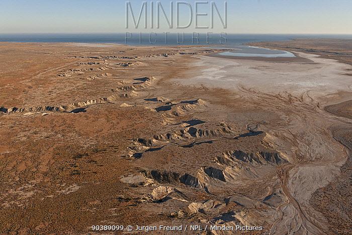 Aerial of desert land going towards Lake Eyre from the direction of William Creek, South Australia, June 2011  -  Jurgen Freund/ npl