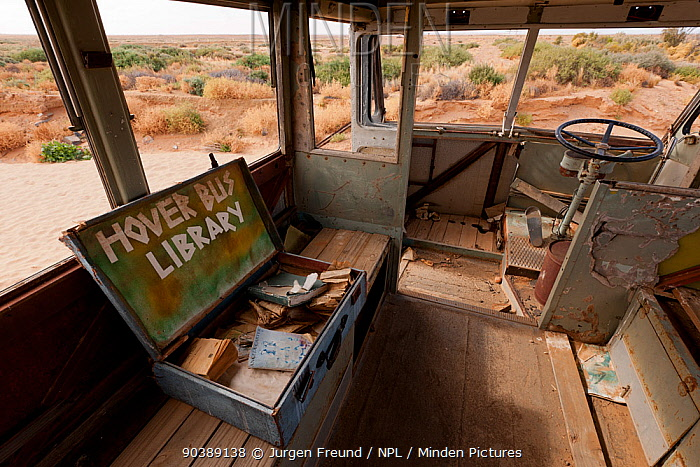 Interior of Ghan Hover Bus, sculpture at Mutonia Sculpture Park, Oodnadata Track, South Australia  -  Jurgen Freund/ npl