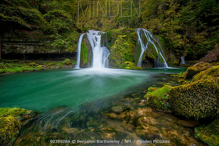 The Saut de la Loue, a waterfall in the Loue Valley near the river's source in the French Jura, Franche-Comte, France, October  -  Benjamin Barthelemy/ npl