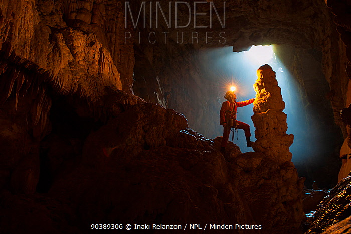 Potholer touching a stalagmite whilst exploring the Graller del Boixaguer cave, Montsec mountains, Pyrenees, Catalonia, Spain, May 2012  -  Inaki Relanzon/ npl