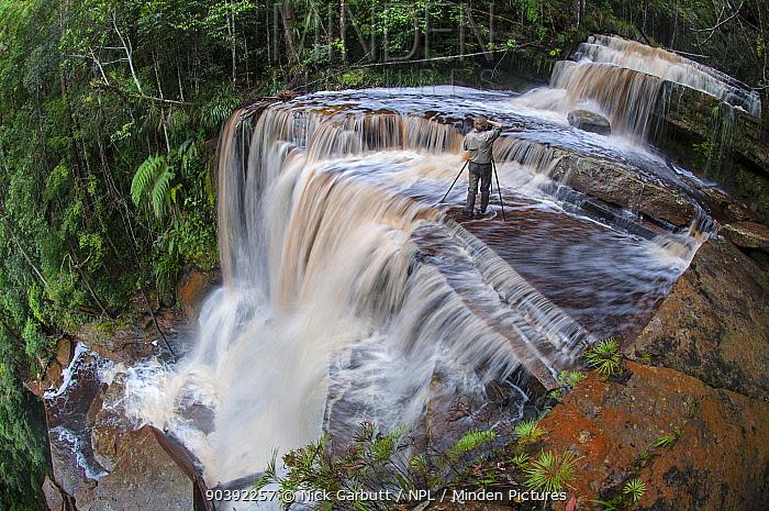 Alex Hyde photographing Gulik Falls The edge of southern plateau, Maliau Basin Sabah, Borneo  -  Nick Garbutt/ npl
