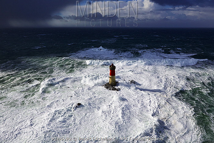 Stormy seas at the Pierres Noires lighthouse, Le Conquet, Armorique Regional Park Finistere, Brittany, France, Iroise Sea February 2014 All non-editorial uses must be cleared individually  -  Benoit Stichelbaut/ npl