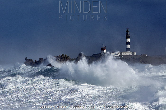 Rough seas at Creach lighthouse during Storm Ruth, Ile dOuessant, Armorique Regional Park, Iles du Ponant, Finistere, Brittany, France, Iroise Sea 8th February 2014 All non-editorial uses must be cleared individually  -  Benoit Stichelbaut/ npl