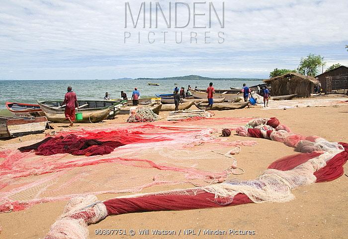 Fishing nets drying and boats on shore of Lake Malawi, Senga Bay, Malawi March 2009  -  Will Watson/ npl