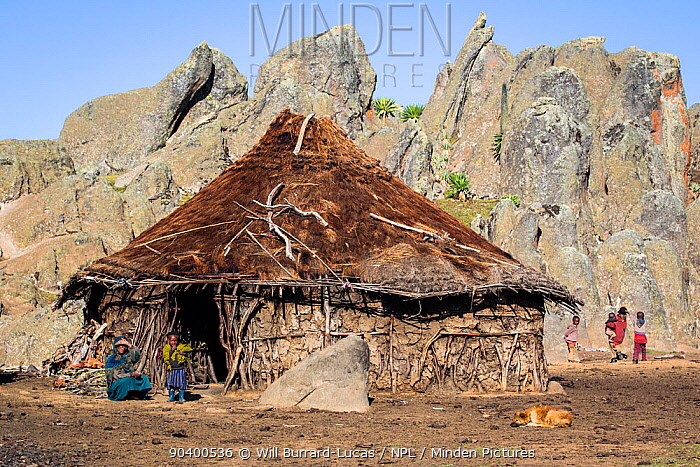 Hut and local Oromo family at Rafu Bale Mountains National Park, Ethiopia, December 2011  -  Will Burrard-Lucas/ npl