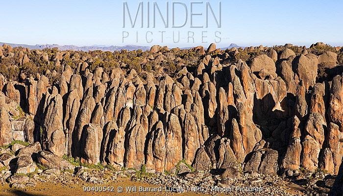 Huge granite pillars at Rafu, Bale Mountains National Park, Ethiopia, December 2011  -  Will Burrard-Lucas/ npl