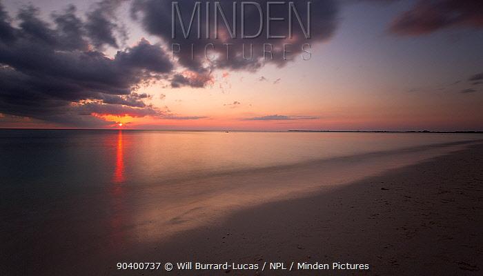 Seven Mile Beach at sunset, Grand Cayman Island, Cayman Islands, May 2012  -  Will Burrard-Lucas/ npl