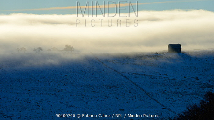 Clouds over snowy landscape, Plateau dAubrac in winter, Lozere, Auvergne, France, December 2013  -  Fabrice Cahez/ npl