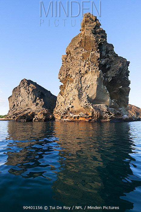 Pinnacle Rock, remnant of old eroded tuff cone, Bartolome Island Galapagos Islands, June 2011  -  Tui De Roy/ npl