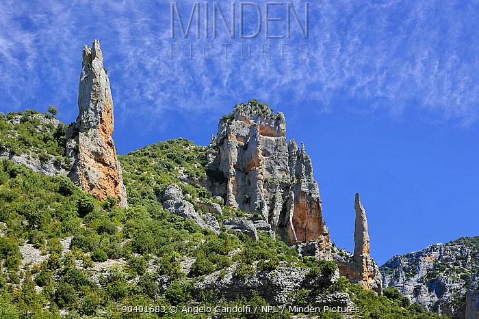 Landscape of Parque Natural Sierra y Canones de Guara, Aragon, Spain, July 2014  -  Angelo Gandolfi/ npl