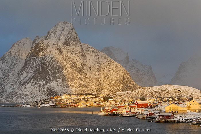 Reine Village and coastal cliffs, Moskenes, Lofoten, Nordland, Norway November 2013  -  Erlend Haarberg/ npl