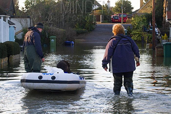 Residents transporting their dog on a rib during February 2014 floods, Sunbury on Thames, Surrey, England, UK, 15th February 2014  -  David Woodfall/ npl