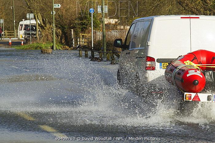 Rescue vehicle with rib to transport residents during February 2014 floods Chertsey, Surrey, England, UK, 16th February 2014  -  David Woodfall/ npl