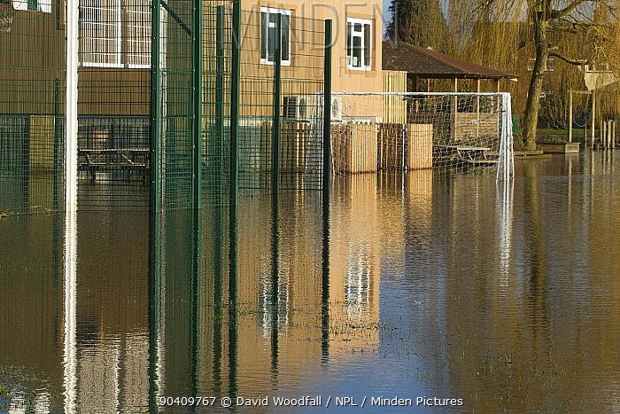 Flooded Primary school during February 2014 floods Surrey, England, UK, 16th February 2014  -  David Woodfall/ npl