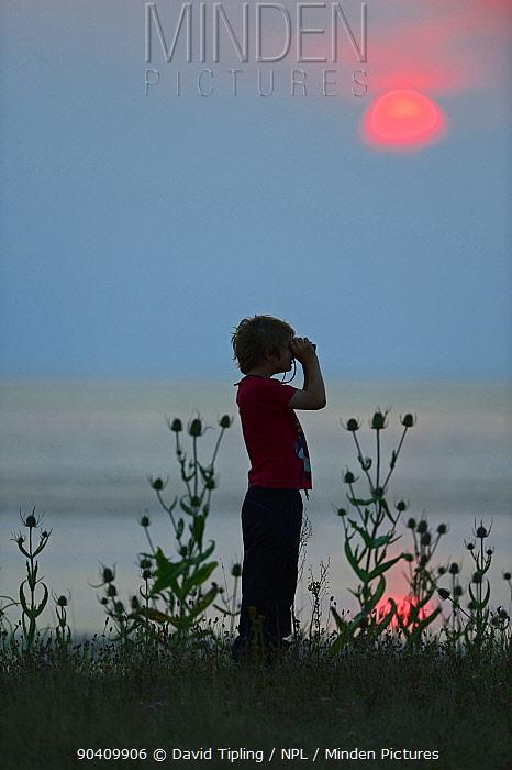 Young boy bird watching at Snettisham RSPB Reserve, The Wash, Norfolk, England, UK Model released  -  David Tipling/ npl