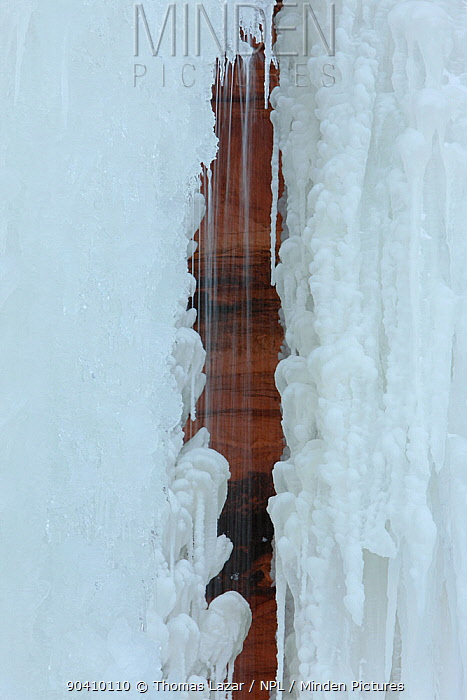 Water flowing in crevis of patterned ice formation, Apostle Islands National Lakeshore, Lake Superior, Squaw Bay, Wisconsin, February 2014  -  Thomas Lazar/ npl