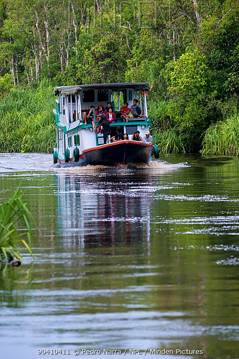 People on a boat on the River Kumai, Tanjung Puting National Park, Central Kalimantan, Borneo, Indonesia  -  Pedro Narra/ npl