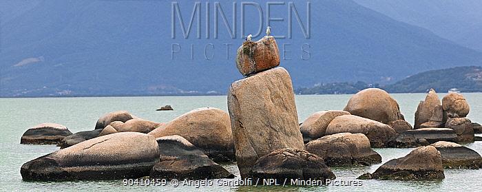 Granite rock formation (Itaguacu) emerging from the sea, Santa Catarina, Brazil, September 2010 Panoramic view composed of four shots  -  Angelo Gandolfi/ npl
