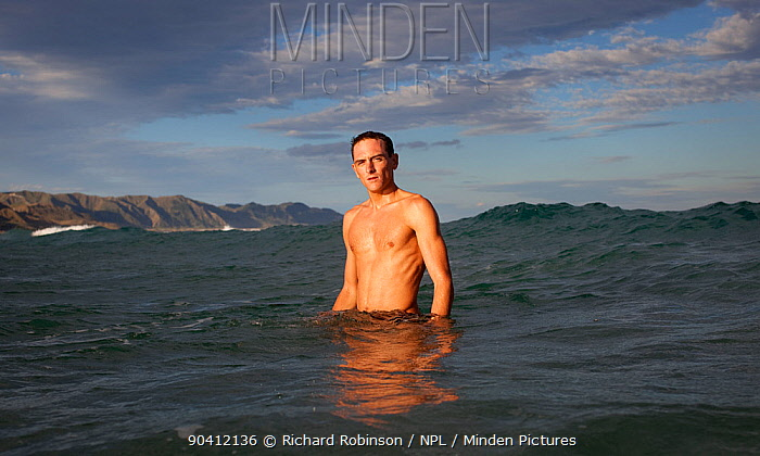William Trubridge, a world champion free diver who is campaigning to protect the Critically Endangered Maui's dolphin (Cephalorhynchus hectori maui) endemic to New Zealand December 2012  -  Richard Robinson/ npl