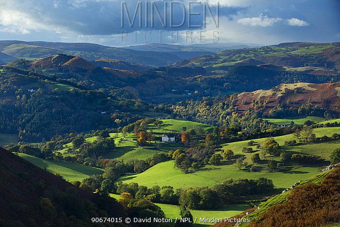 Isolated house in Dee Valley (Dyffryn Dyfrdwy) near Llangollen, Denbighshire, Wales, UK, November 2013  -  David Noton/ npl