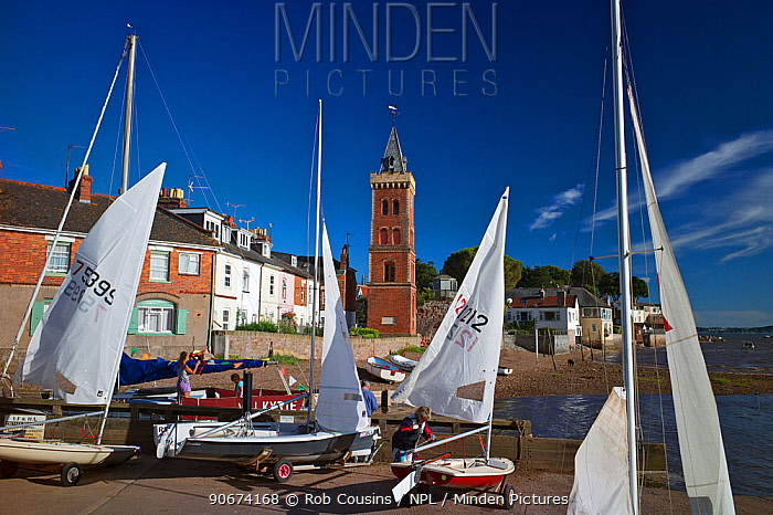 Sailing boats moored in Lympstone harbour, Exe Estuary, Devon, UK, July 2013  -  Rob Cousins/ npl