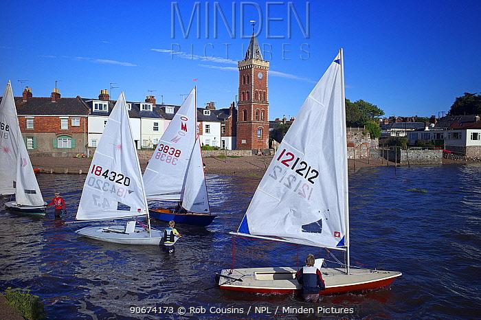 Sailing dinghies launching, Lympstone harbour, Exe Estuary, Devon, UK, July 2013  -  Rob Cousins/ npl