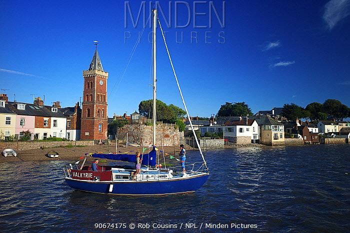 Small sailing boat, Lympstone harbour, Exe Estuary, Devon, UK, July 2013  -  Rob Cousins/ npl