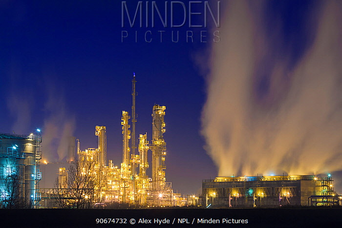 Saltend Chemical Plant at night, Kingston upon Hull, East Yorkshire, England, UK, January 2014  -  Alex Hyde/ npl