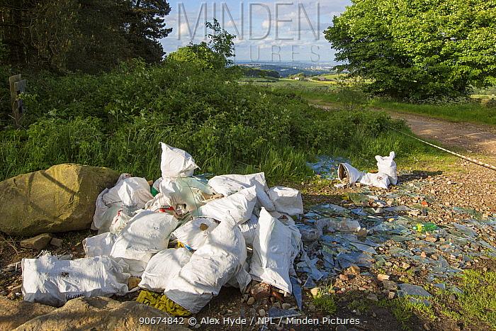Fly tipped rubbish, Peak District National Park, Derbyshire, UK, June  -  Alex Hyde/ npl