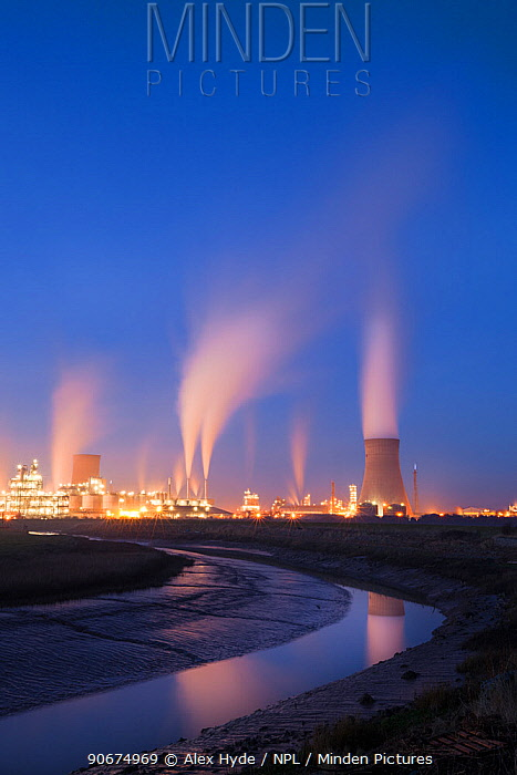 Saltend Chemical Plant at dusk, Kingston upon Hull, East Yorkshire, England, UK  -  Alex Hyde/ npl