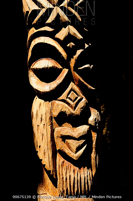 Close up of Totem, Ile des Pins (Pine Island), New Caledonia, September 2008  -  Enrique Lopez Tapia/ npl