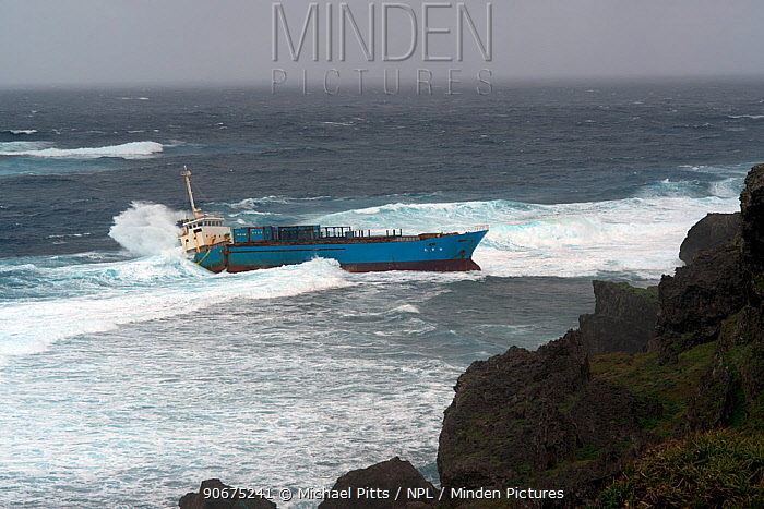 Inter Island container ship, aground and wrecked, Yonaguni Island, East China Sea, Japan February 2014  -  Michael Pitts/ npl