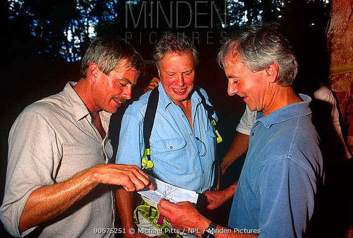 Sir David Attenborough, series producer Mike Salisbury and sound recordist Trevor Gosling on location for BBC Private Life of Plants (1995) Sir David is about to climb a tree, Costa Rica  -  Michael Pitts/ npl