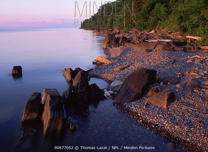 Little Girls Point on Lake Superior, seen from Wisconsin, USA  -  Thomas Lazar/ npl