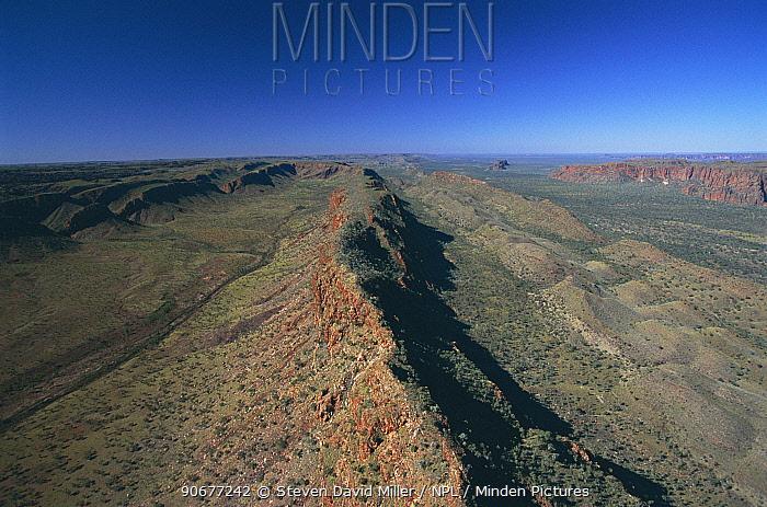 Aerial view of Osmond Range approach to Bungle Bungle range, Purnululu NP Western Australia  -  Steven David Miller/ npl