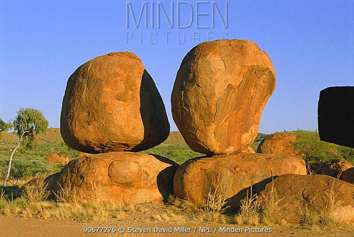 Granite boulders at sunrise, Devils Marbles Conservation Reserve, NT, Australia Northern  -  Steven David Miller/ npl