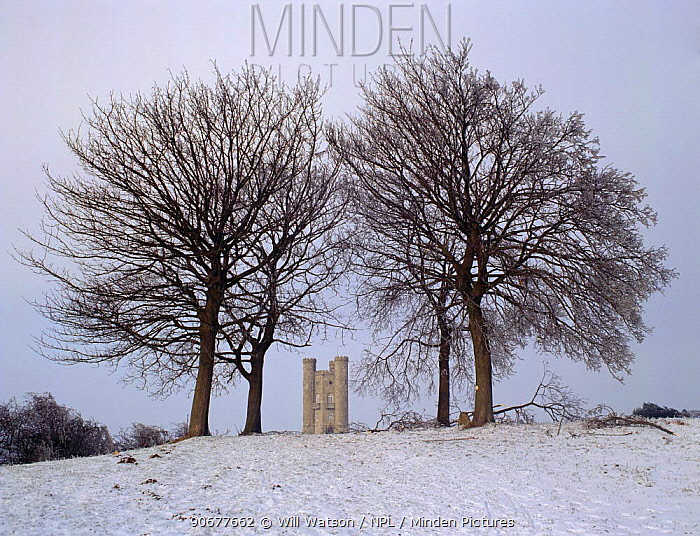 Broadway tower in snow, Worcestershire, UK  -  Will Watson/ npl