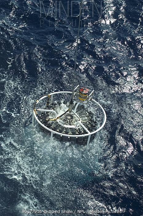 Launching CTD (conductivity, temperature, depth) water sampling equipment from research boat GO Sars Atlantic ocean ddep sea research  -  David Shale/ npl