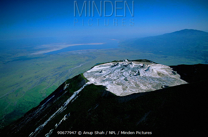 Aerial view of Ol Doinyo Lengai Crater (The Mountain of God) Rift Valley, Tanzania Note- small cones on crater floor formed by previous eruptions of lava, still active  -  Anup Shah/ npl