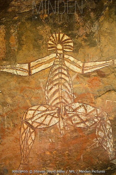Rock art depicting human figure, Kakadu National Park, Northern Territory, Australia  -  Steven David Miller/ npl