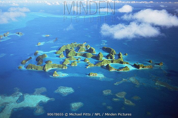 Aerial view of Seventy Islands, Palau, Micronesia  -  Michael Pitts/ npl