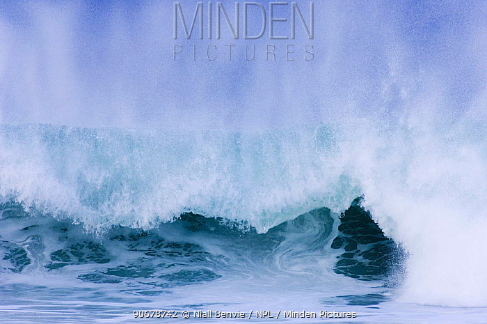 Wave breaking into Saligo Bay, Islay, Argyll, Scotland, UK February  -  Niall Benvie/ npl
