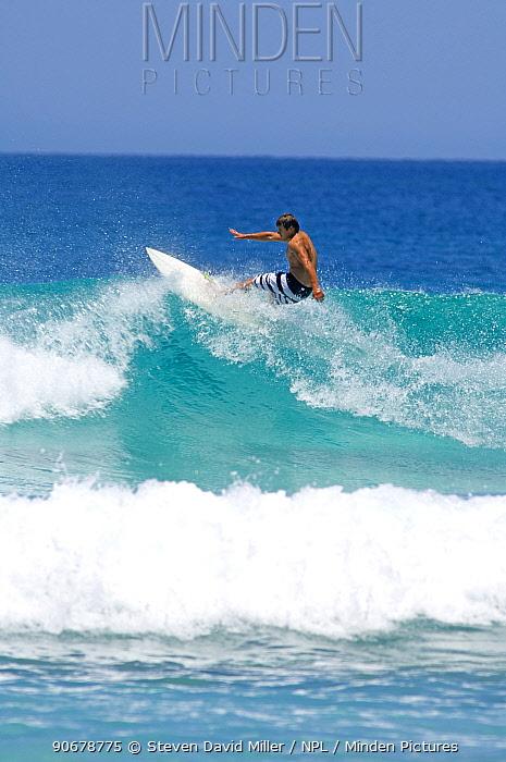 Young man surfing, Esperance, Western Australia  -  Steven David Miller/ npl
