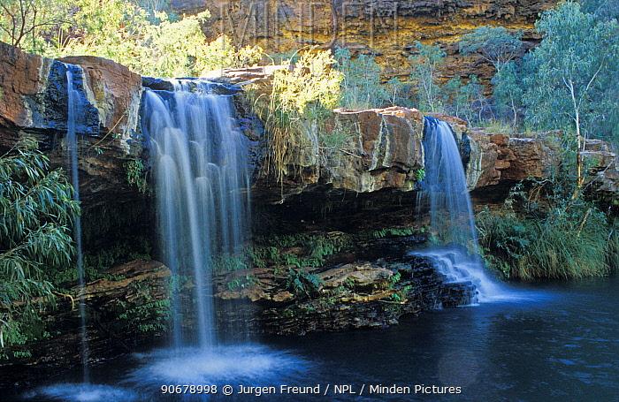 Fern Pool, a permanent swimming hole surrounded by lush vegetation, Karajini National Park, Western Australia  -  Jurgen Freund/ npl