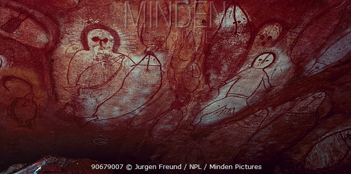 Ancient aboriginal Wandjina rock art in cave, Bigge Island, Western Australia  -  Jurgen Freund/ npl