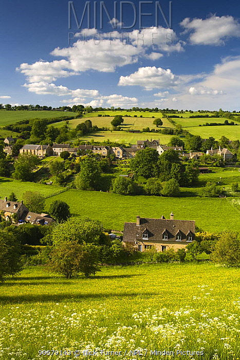 Countryside view over Naunton, The Cotswolds, Gloucestershire  -  Nick Turner/ npl
