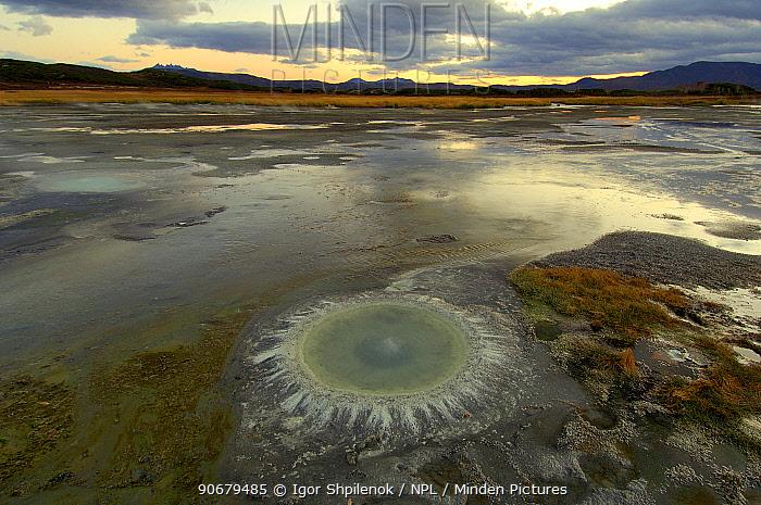 A hot spring ringed by thermophilic bacteria in the vast caldera of the Uzon Volcano, Kronotsky Zapovednik, Kamchatka, Far East Russia  -  Igor Shpilenok/ npl