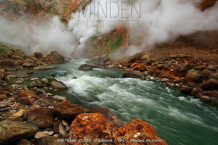 Water flowing over rapids in the Geyser River, Kronotsky Zapovednik, Kamchatka, Far East Russia  -  Igor Shpilenok/ npl