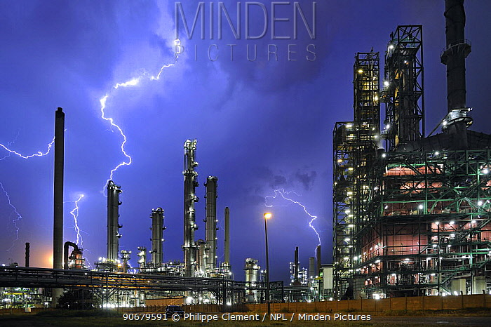 Lightning during thunderstorm above petrochemical industry in the Antwerp harbour, Belgium  -  Philippe Clement/ npl